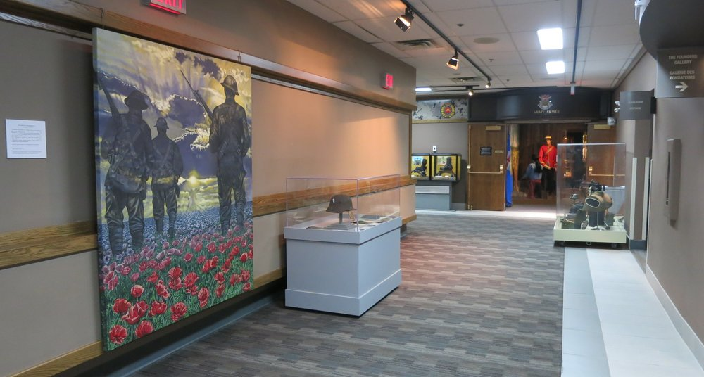 The Journey to Remembrance  is currently on loan and being displayed by the hallway to the Founder's Gallery at The Military Museums of Calgary.