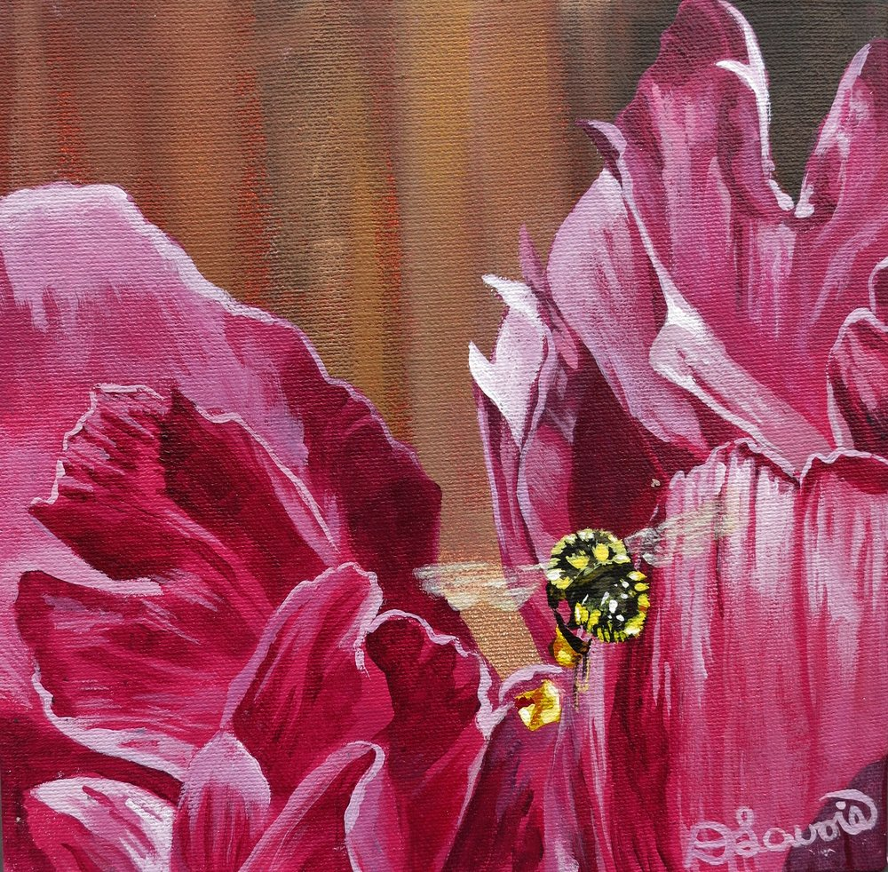 "I Bee-Lieve I can Fly              Acrylic on Canvas - 8"" x 8""       Both the original and limited edition prints are available.   As I observed the bees in my garden over the summer, I was fascinated how close they let me observe them.  I was also quite amazed how many different types that visited my yard. This busy guy was zooming all over my peony collecting as much as he could."