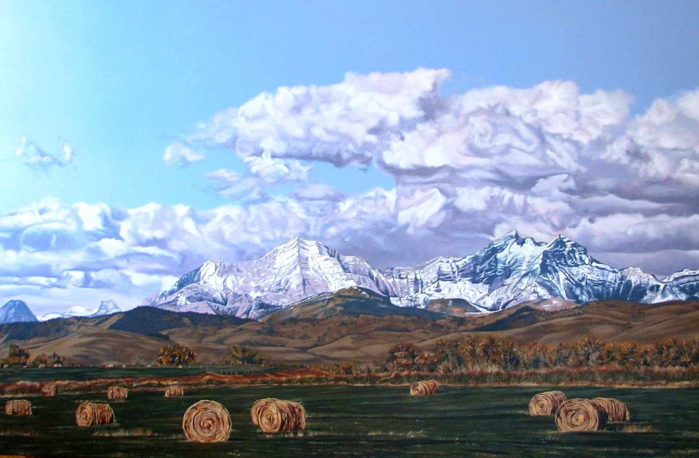 hay bales under the highwood range -  Acrylic on Canvas - 40
