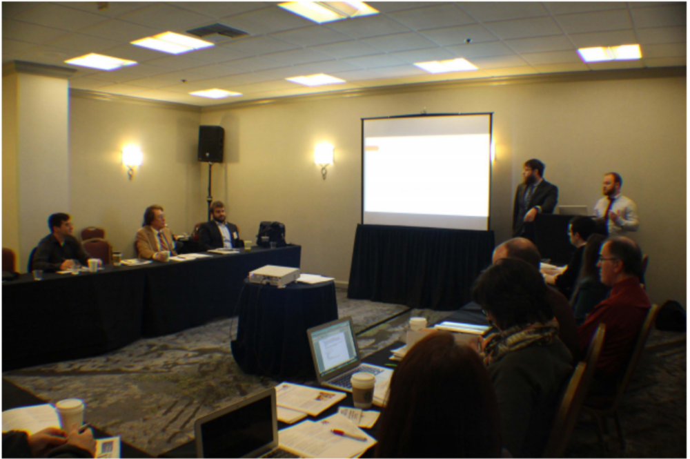 Caleb presenting at APSA Teaching and Learning Conference 2016; featured in PS: Political Science and Politics (April 2016)