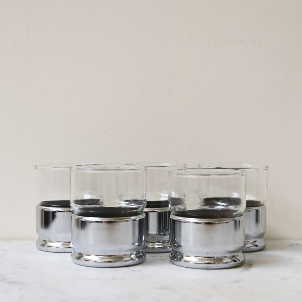 vintage set of 6 hellerware chrome and crystal rocks glasses - Rocks Glasses