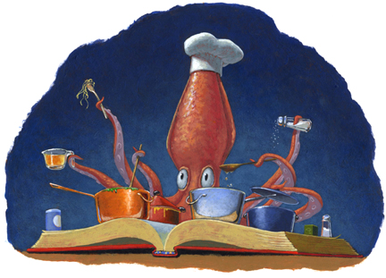 """Squid chef,"" spot art from CSLP Summer Reading Program"