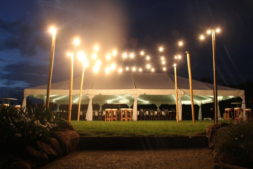 40m Festoon with 6 Bamboo Poles over 6x6m Dance Floor