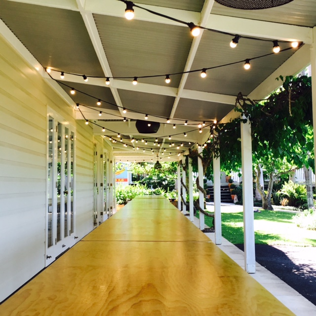 50m Festoon over Banquet Tables on Verandah