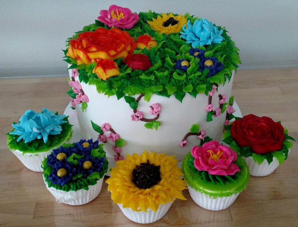 Flower Power Cupcakes or Cake