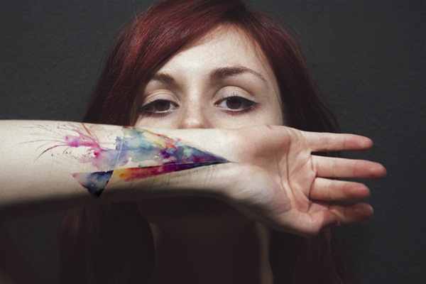 woman with colourful tattoo