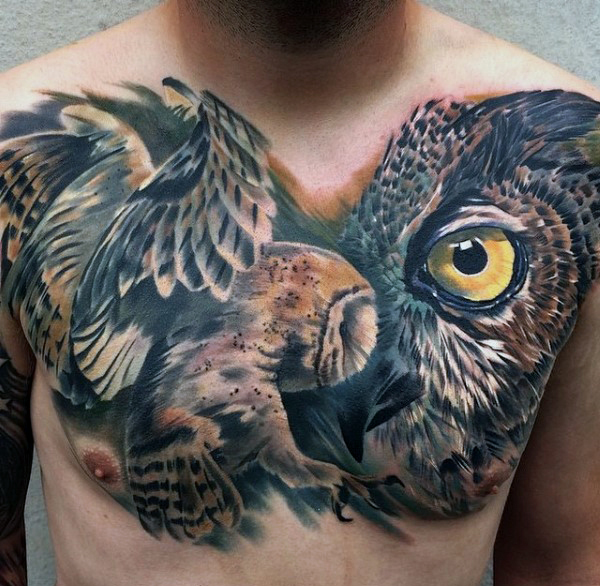 modern chest tattoo