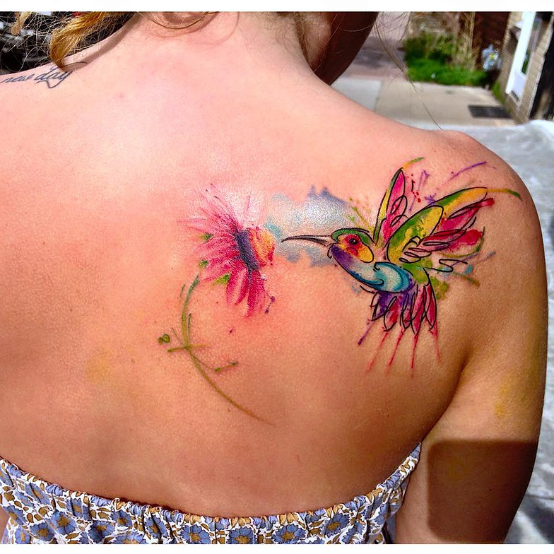 watercolour tattoo bird and flower