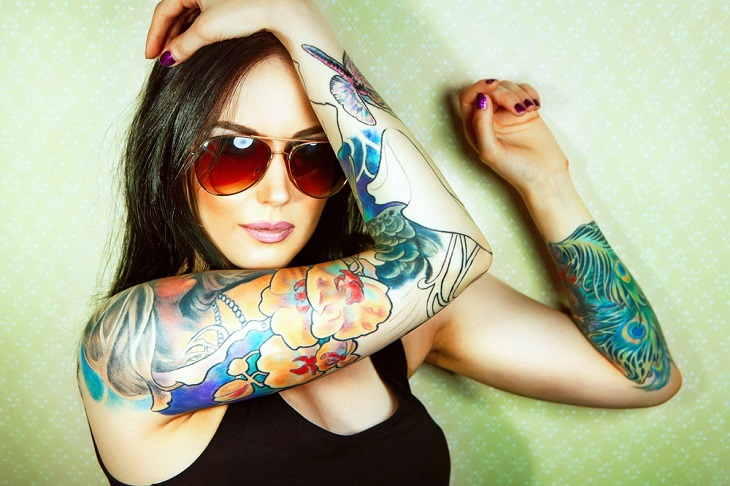 girl with colourful tattoo