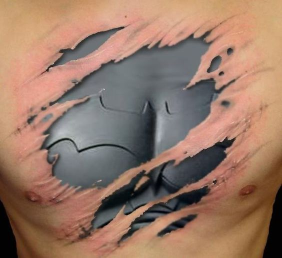 batman chest tattoo