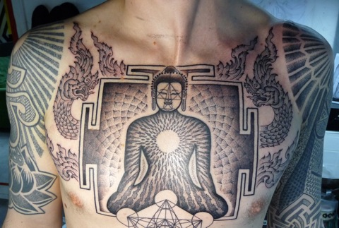 zen chest tattoo
