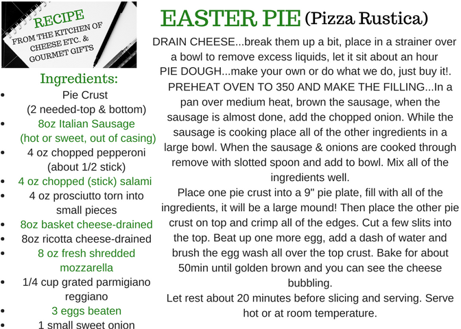 Traditional Italian Easter Pie - Just a few extra notes when making this recipe.....really, a store bought crust is just as good as making your own. And we like to keep things simple when we can. And we do like to keep things natural too, so we favor Immaculate Baking Company ready made crust.Also, it is really important to take the time to drain the basket cheese and the ricotta cheese. Otherwise the pie filling could be too soggy. And no one wants a soggy pie!We recommend shredding the mozzarella yourself instead of buying pre shredded, but again sometimes those time savers can help. Tip for easy shredding...place the cheese in the freezer for about 10 min. It will harden a bit making it easier to shred on a hand shredder.And it's no exaggeration the filling will be really high! If you feel just too much to seal the top crust on, save the filling and make another one! You can even make in smaller versions with a smaller pan. Doesn't have to be a 'pie' plate. Also, you could even double the recipe and make an extra pie. They freeze really well. Freeze it after it cooks so all you have to do is just reheat it! You don't have to just eat it for Easter!!
