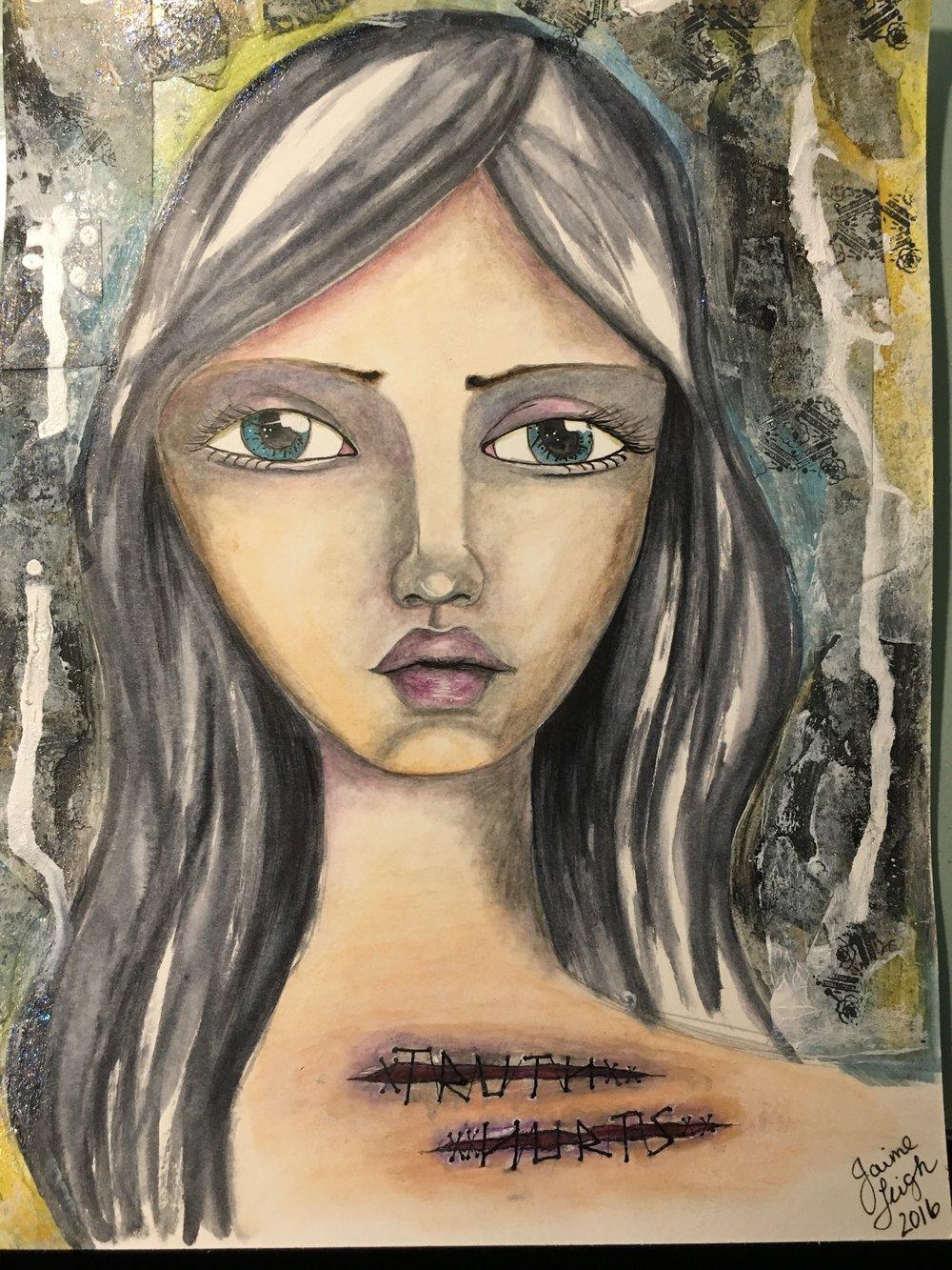 """Truth Hurts,"" 9x12 original mixed media on paper, Jaime Leigh Hebert"