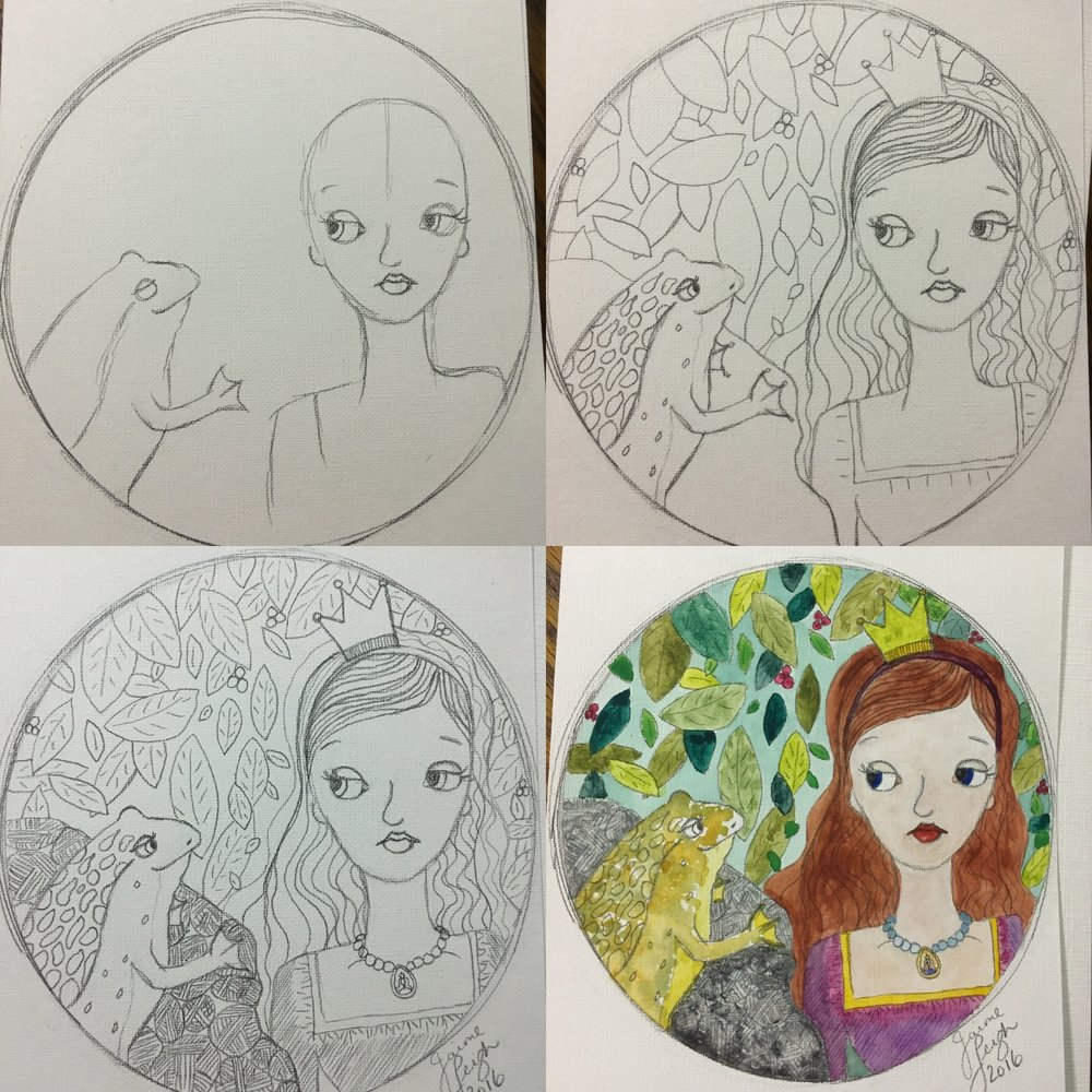 My version of Rachelle's lesson from sketch to color.
