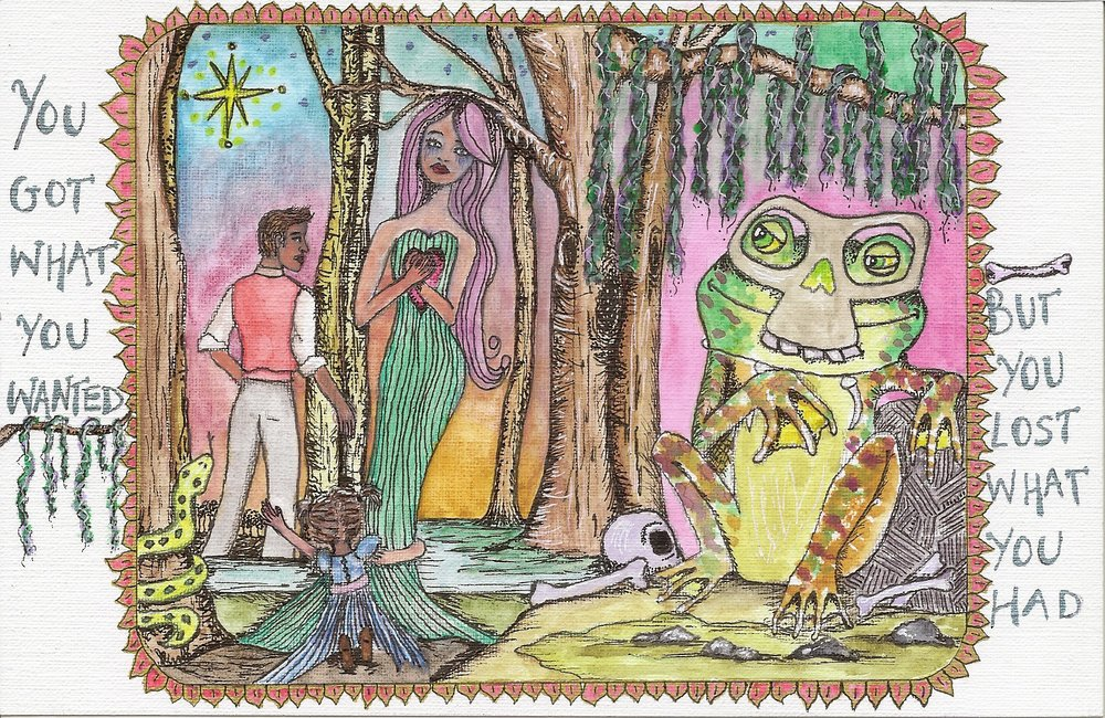 My version of the Princess & the Frog. 4 by 6 watercolor, pen, and colored pencil on paper. Artwork by Jaime Leigh Hebert