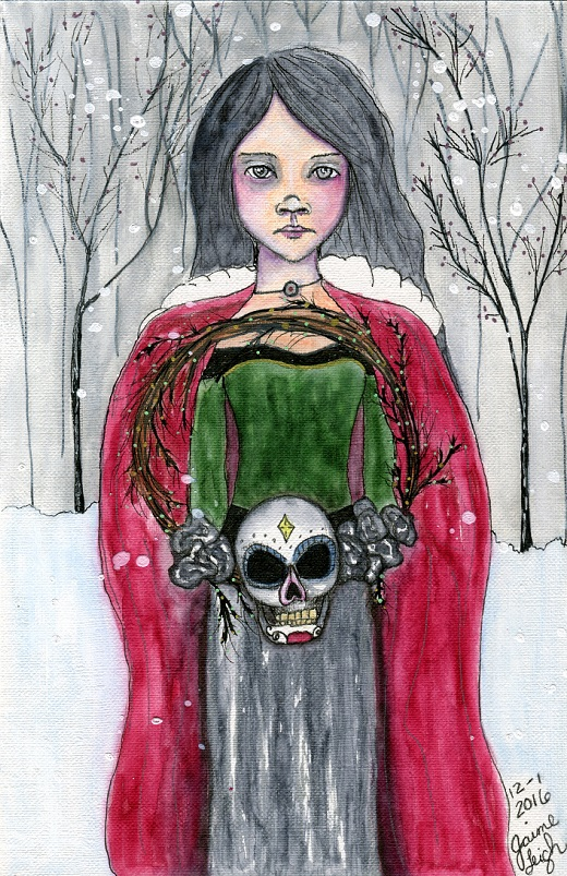 """Natalia"" by Jaime Leigh. Watercolor, marker & ink on 5.5 by 8.5 paper."