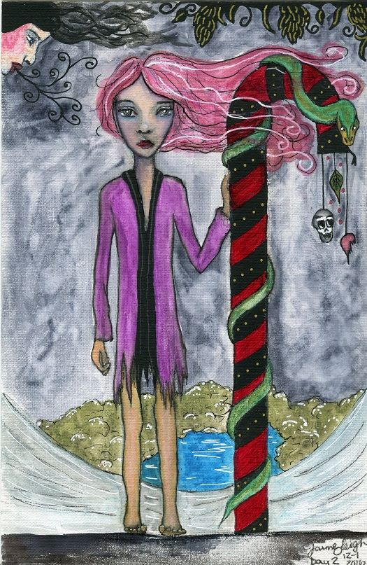 """""""Candy Cane,"""" by Jaime Leigh, watercolor, acrylic & pen on 5.5 by 8.5 paper."""