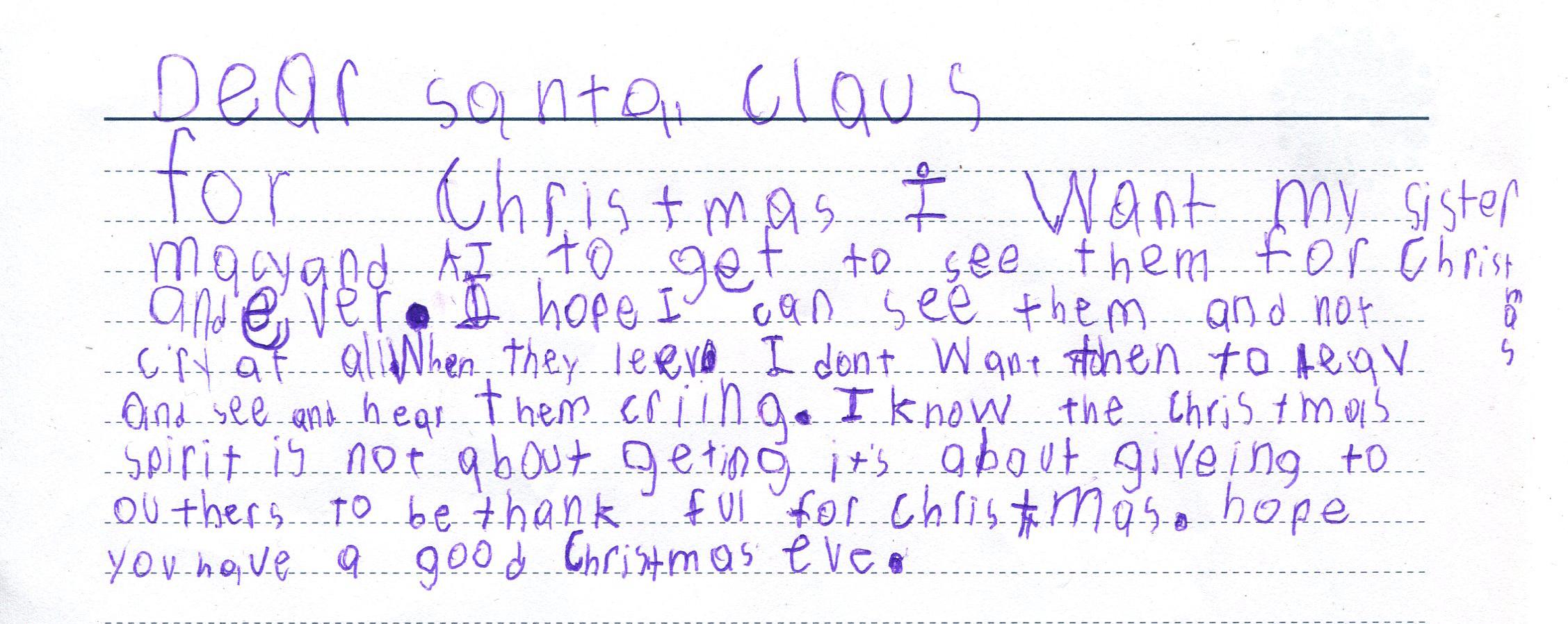 Jake's letter to Santa.