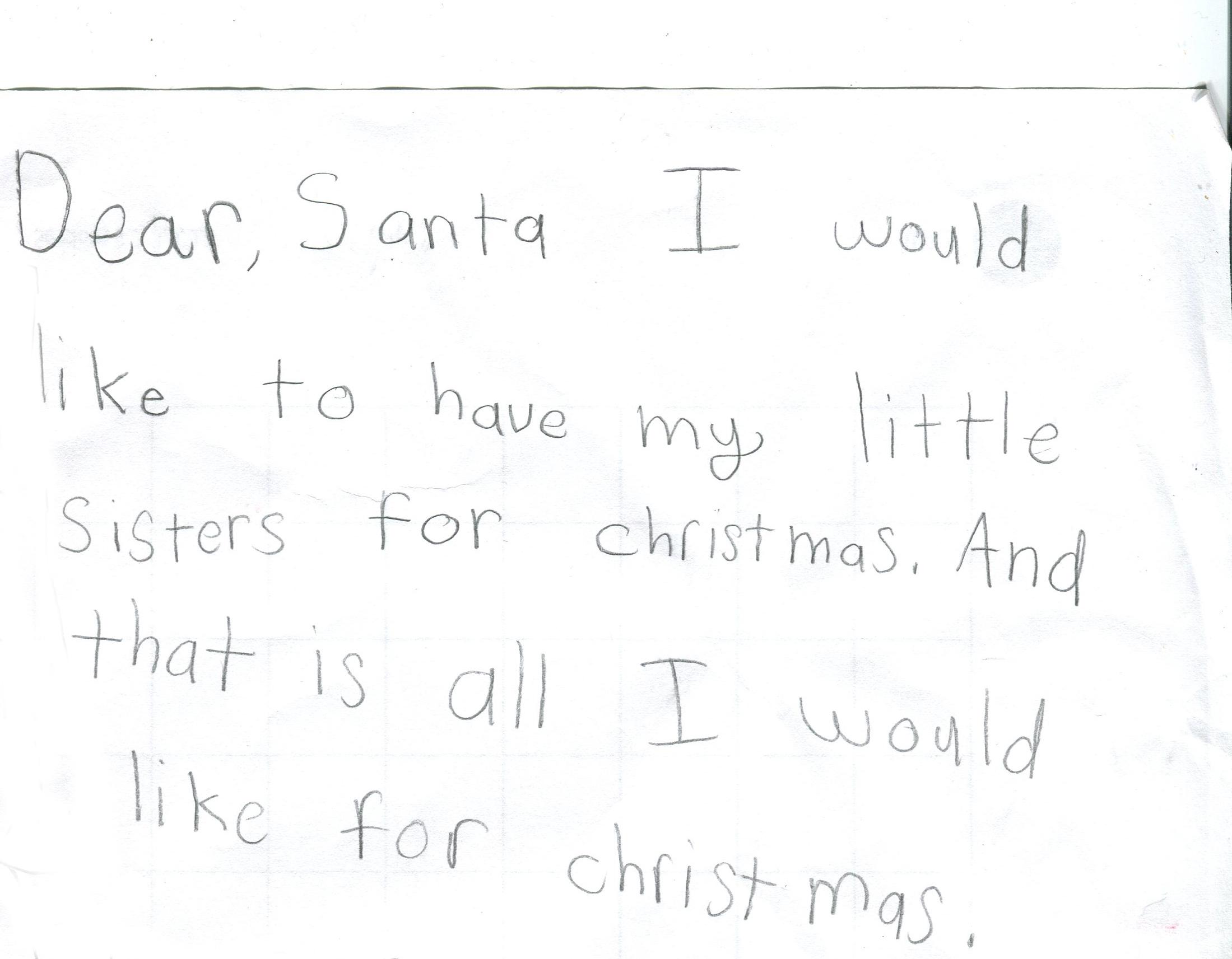 Sophie's letter to Santa.