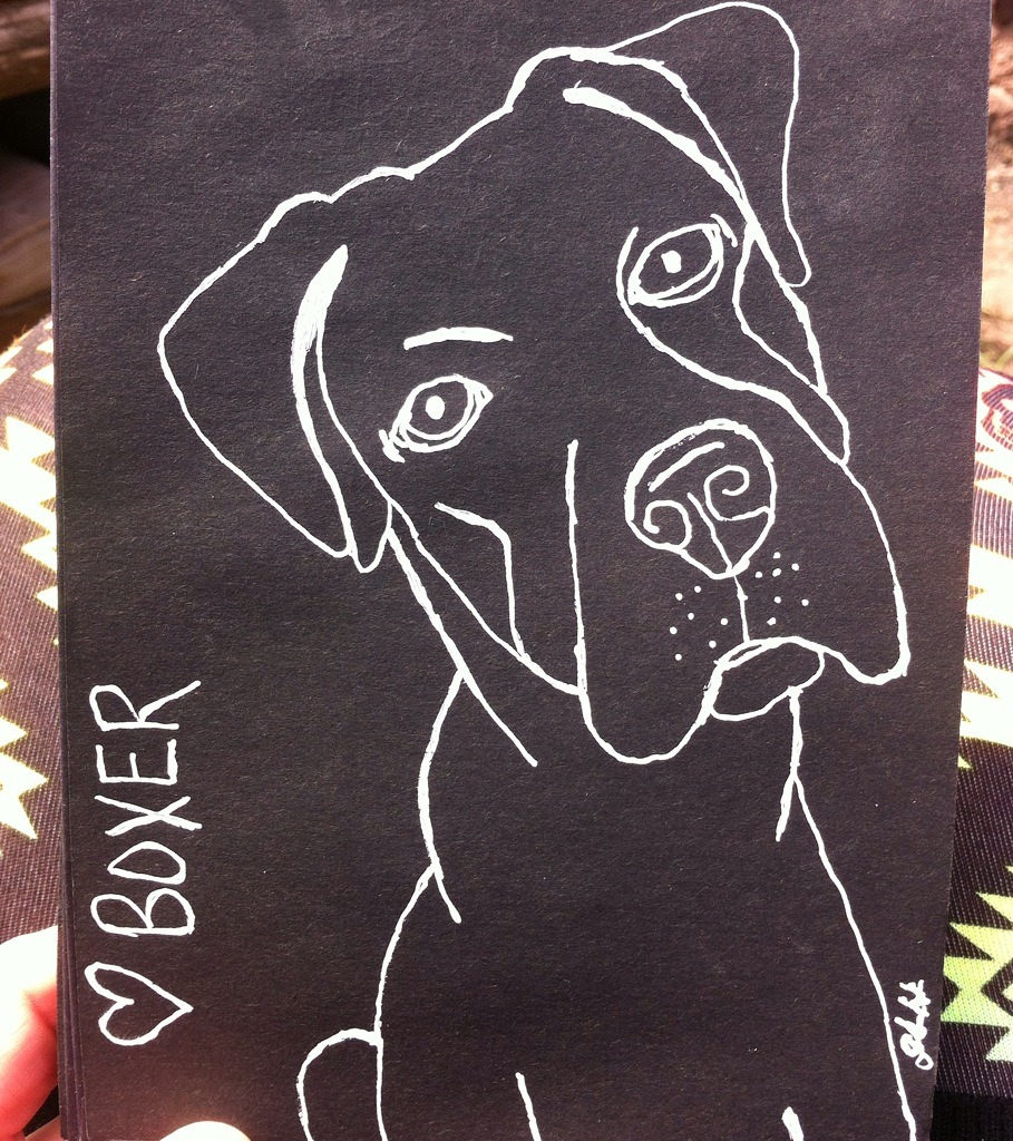 """White ink on black paper drawing """"<3 Boxer"""""""