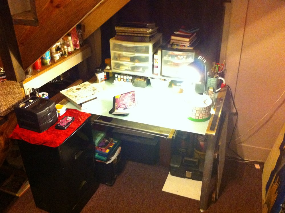 My art desk. This is where I made all 50 paintings