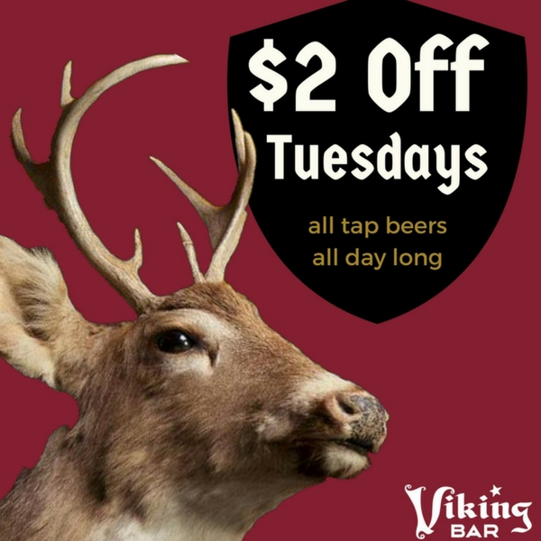 2 dollar off tap beer viking bar