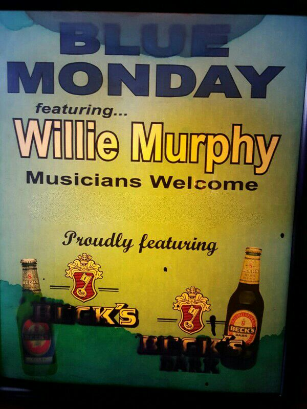 Vintage Willie Murphy sign found at the Viking Bar