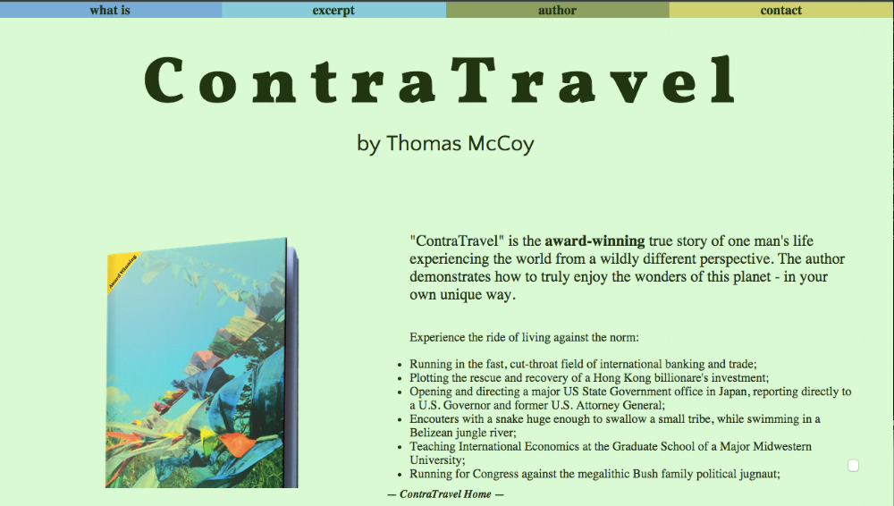 'ContraTravel' - final design format, based on flag colors on the cover