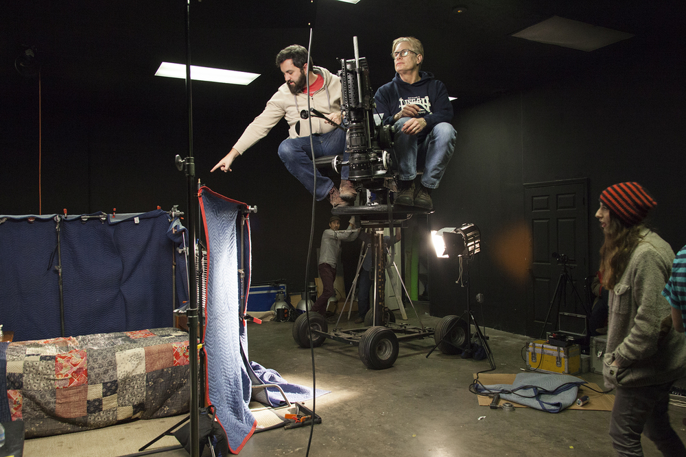 Paul and Brad moving into position for filming the next two scenes.