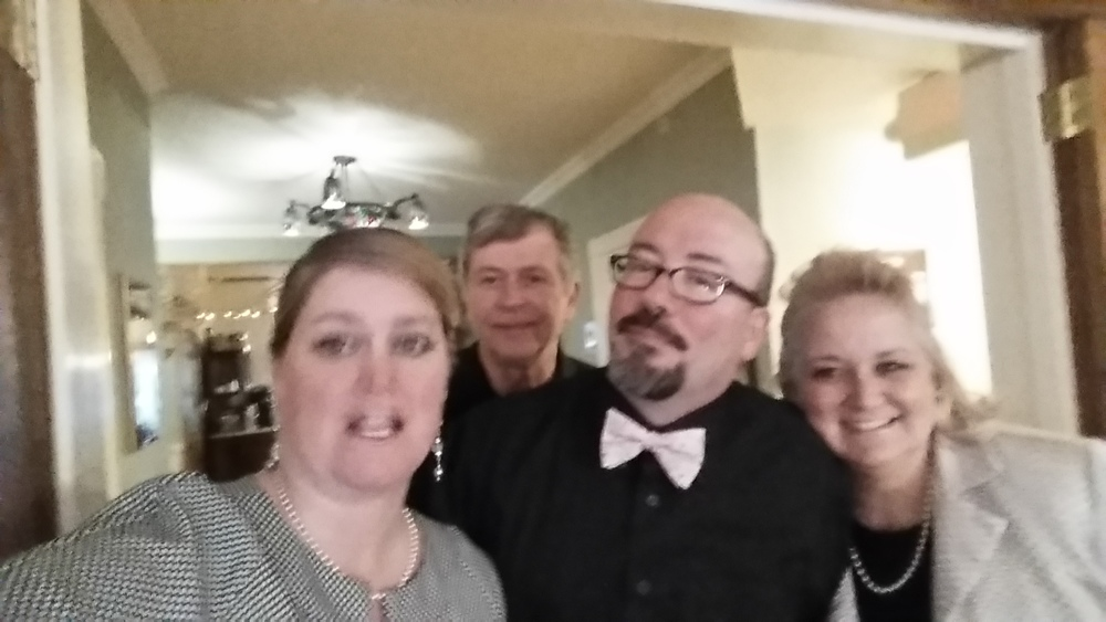 Mandatory pregame selfie for Beth, Warren, Steve and Robin.