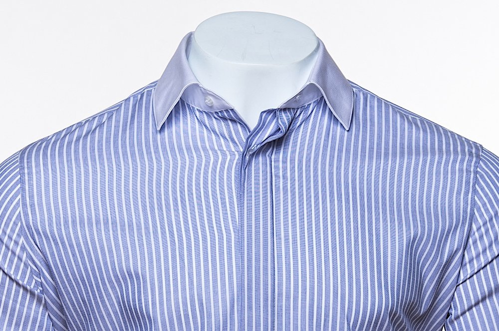 Wide-Spread Collar - Blue/White Stripe 100's 2-ply Egyptian Cotton Broadcloth