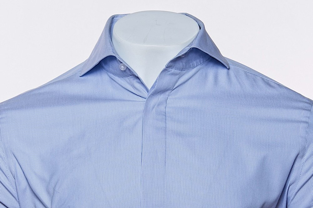 Cut-Away Collar - Cobalt Blue 100's 2-ply Egyptian Cotton Broadcloth