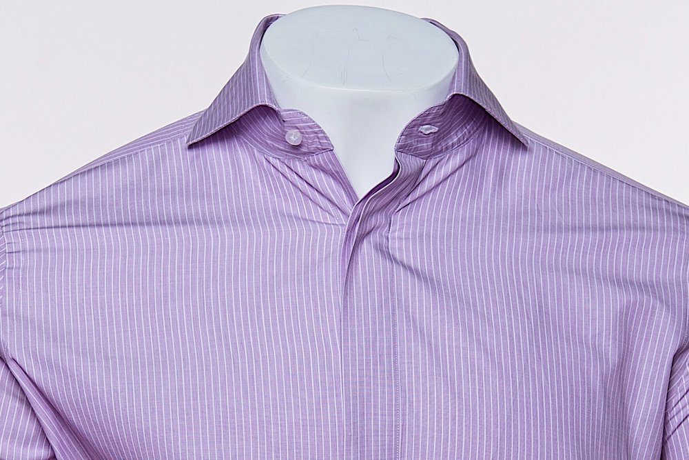 Cut-Away Collar - Lavender/White 100's 2-ply Egyptian Cotton Broadcloth