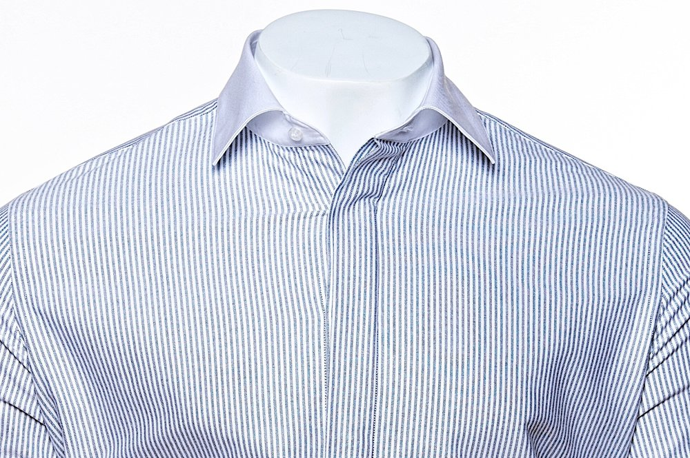 Classic Collar - Gray//White 100's 2-ply Egyptian Cotton Broadcloth
