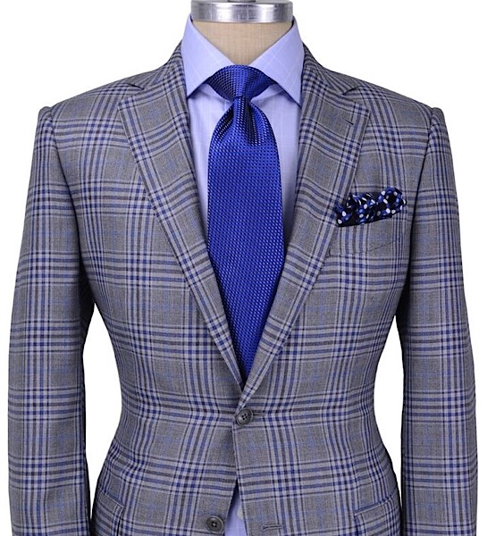 All-Seasons 19' - Gray/Blue Plaid Notch Lapel, 100% Worsted Wool, 260 grs