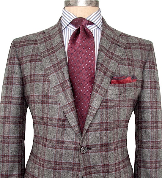 All-Seasons 19' - Gray/Oxblood Plaid Wide Notch Lapel, 100% Worsted Wool, 260 grs