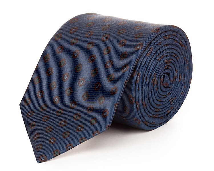 Milan Blue Silk Necktie - Handmade, 100% Silk Woven, 58 Inch Length, and Silk Lined