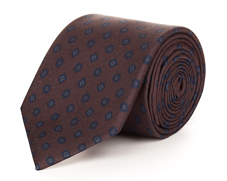 Milan Brown Silk Necktie - Handmade, 100% Silk Woven, 58 Inch Length, and Silk Lined