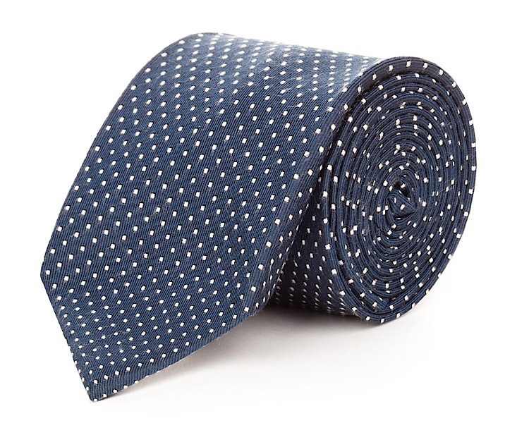 Navy White Dot Silk Necktie - Handmade, 100% Silk Woven, 58 Inch Length, and Silk Lined