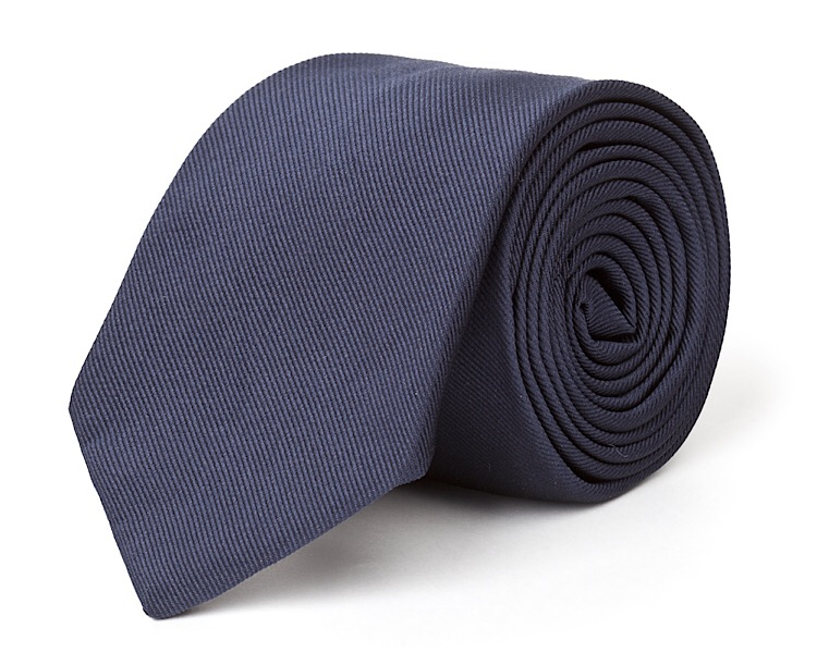 Navy Silk Necktie - Handmade, 100% Silk Woven, 58 Inch Length, and Silk Lined