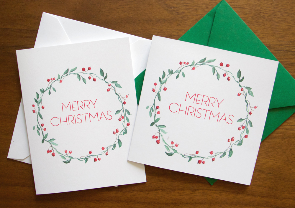 Christmas Wreath Stationery - set of 6 folded cards + envelopes ...