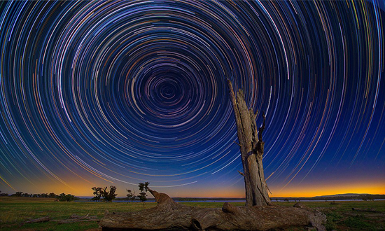 Long exposure photograph of the night sky. Photo credit  here .