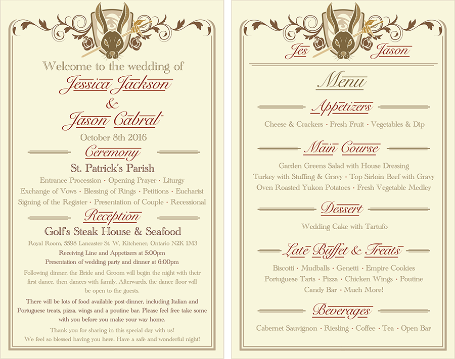 Program & Menu - Jackson-Cabral Wedding