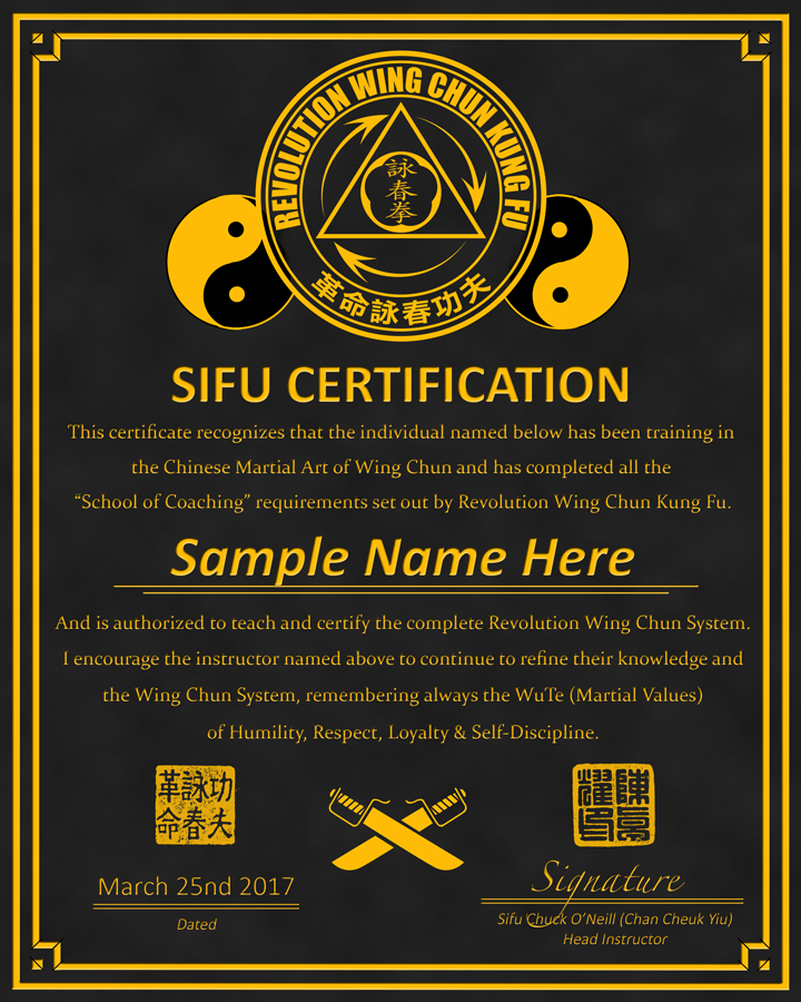 Revolution Wing Chun - Sifu Certification Plaque Design