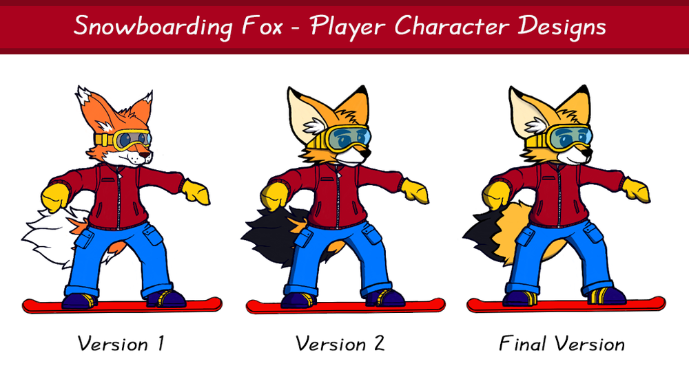 Snowboarding Fox - Player Character Designs