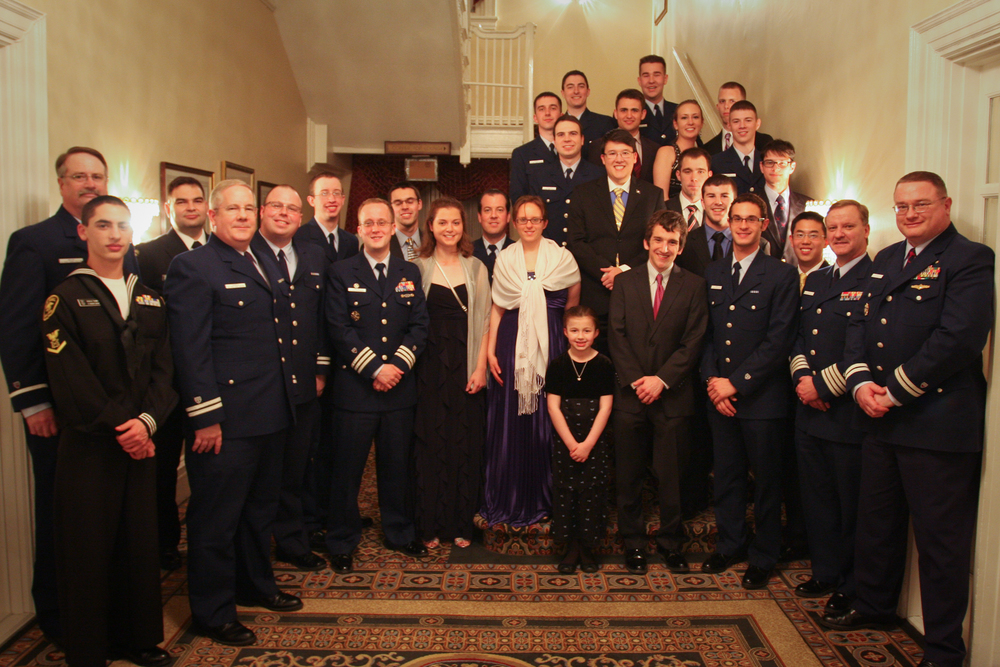 AUP students, staff, guests, and distinguished active-duty and civilian partners pose for a photo at AUP Dining Out, March 23, 2013 at Fort McNair. U.S. Coast Guard photo.