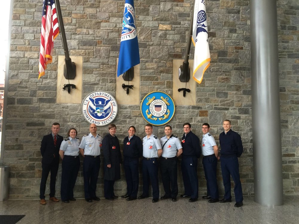 Members of the United States Coast Guard Auxiliary University Program at Coast Guard Headquarters.