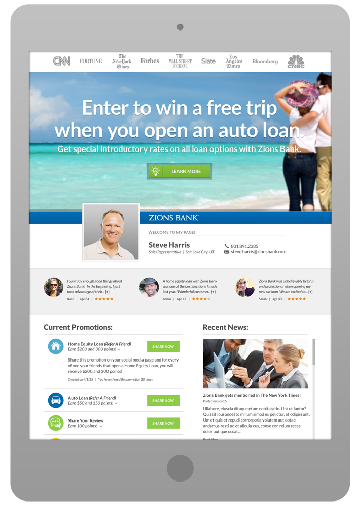 Sales Rep Marketing Page - Auto Loan Promotion