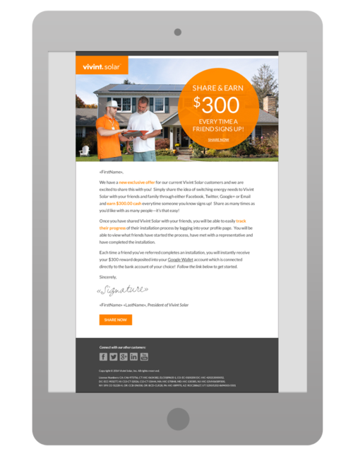 Vivint Solar Cavalcade Creative - Promotional email template