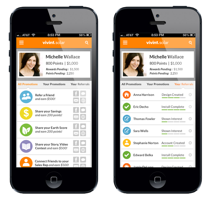 Customer Portal Mobile App Design - Promotions & Referrals Tabs